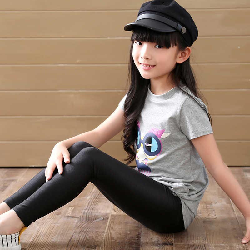 2-14 歳の女の子スキニーロングパンツ光沢のある黒、白、ピンクの子供たちはレギンス子供弾性ズボンオールマッチレギンス