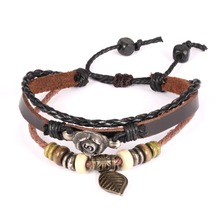 GOLDAYS Hand Woven Multilayer Wooden Bead Adjustable Bracelet Unisex Fashion Jewelry