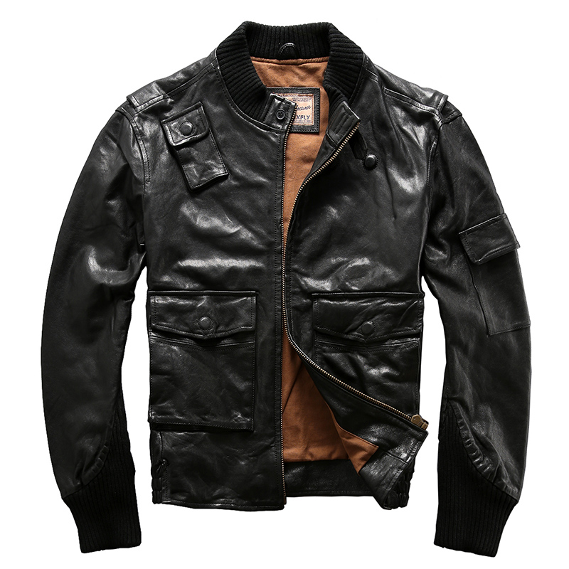 men's suede leather mens clothing coat goat leather rider jacket