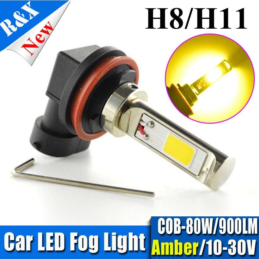 1pc H11 H8 H7 HB3 HB4 H1 H3 9005 9006 COB High power 80W 10V-30V led Fog Driving DRL light bulbs 900LM Super bright White/amber