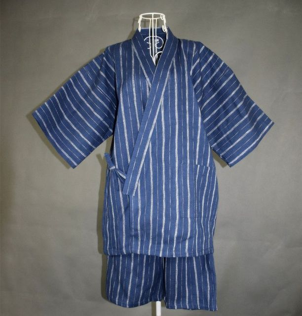 Men 100% Cotton Yukata Kimono Suit Men Japanese Traditional Pajamas set Summer Japanese Style Bathrobe with shorts 022803