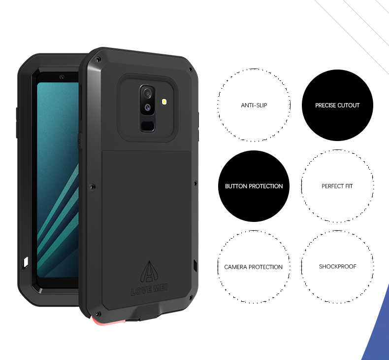 reputable site 80da5 48537 2018 A6 Life Waterproof Shockproof Metal Armor Case for Samsung Galaxy A6  Plus 2018 LOVE MEI Water Resistant Cover With Glass