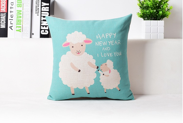 sky blue mom and son sheep happy new year cute kids massager decorative pillow cover euro pillows home decor vintage gift in decorative pillows from home