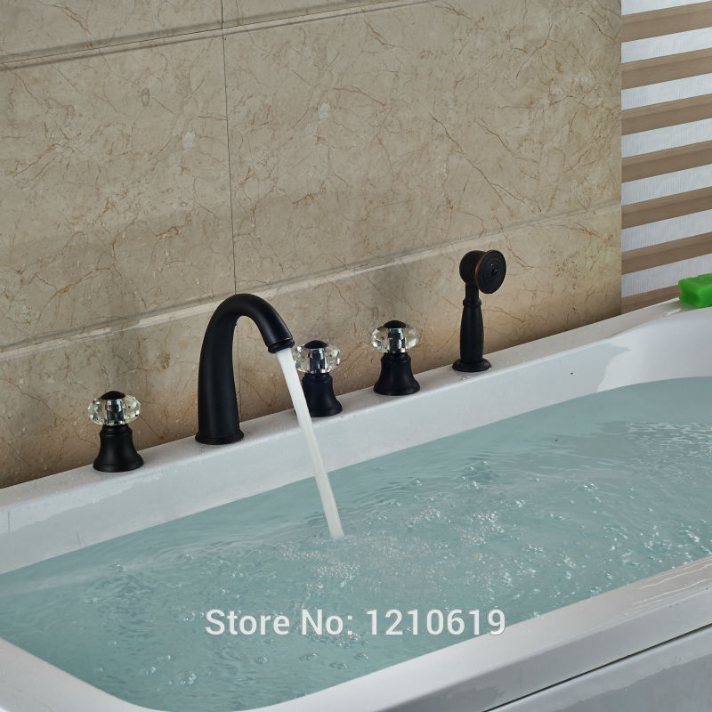 Newly Oil Rubbed Bronze Shower Tub Faucet w/ Handheld Shower Crystal Handles Bathtub Mixer Faucet Basin Tap