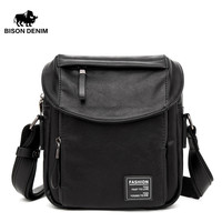 BISON DENIM fashion men bag PU leather male small crossbody shoulder bags causal men messenger