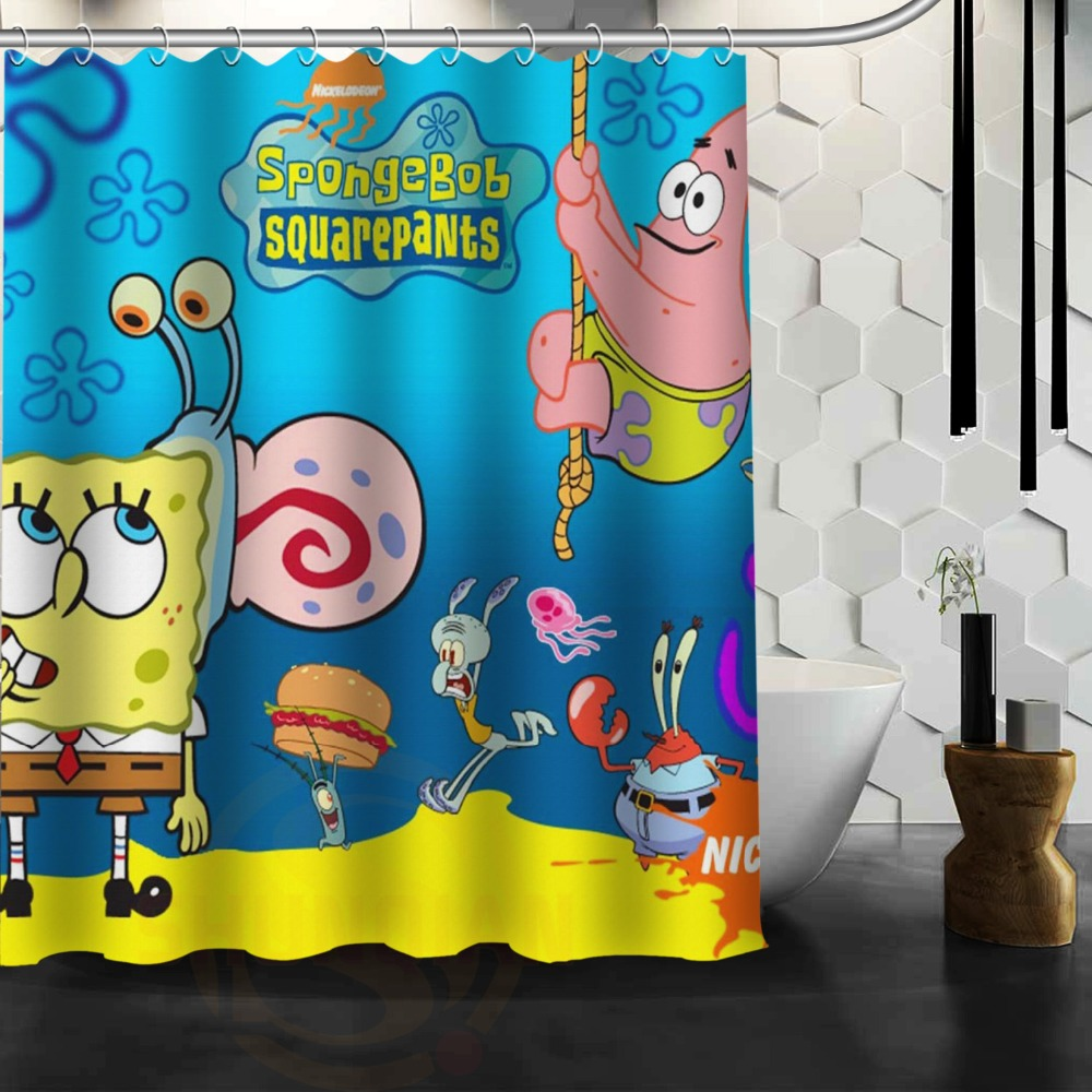 The Spongebob Squarepants Custom Waterproof Shower Curtain Bathroom Curtains Inches Hot Sale Jpg 1000x1000 Shrek