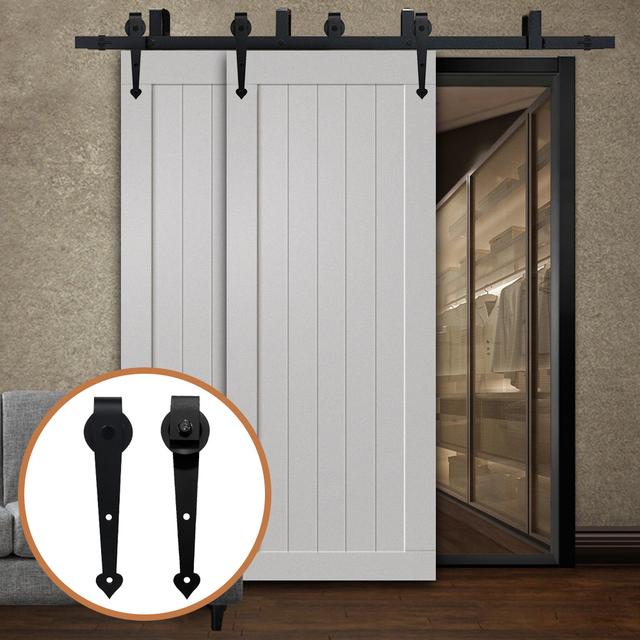 Lwzh Puerta De Madera Corredera Bypass Puerta De Granero Deslizante Kit De Hardware Acero Negro Con Forma De Corazon Rodillos De Pista Para Puerta