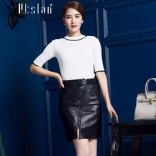Ptslan Women's Genuine Leather Lambskin Skirt High Waist Sexy Shorts Femme Winter Skater Skirt