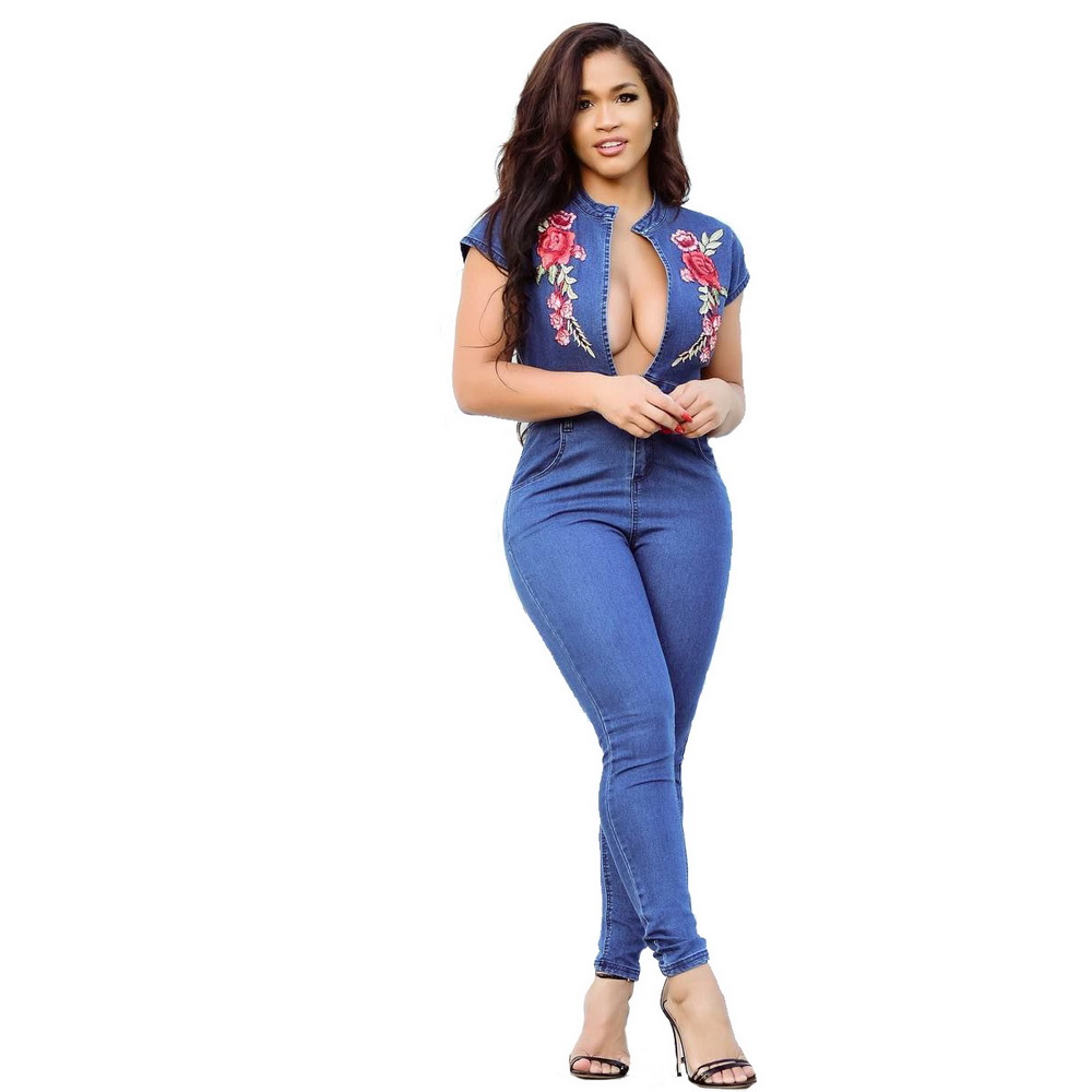 f4c4c4ebac68 Wendywu Sexy Embroidery Denim Women Jumpsuit Long Pants Short Sleeve  Bodycon V Neck Pocket Plus Size Party Jumpsuit Overalls-in Jumpsuits from  Women s ...