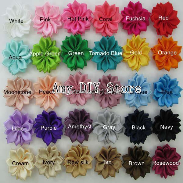 MyAmy 150pcs/lot DIY Headband Satin Flower WITHOUT Hair Clip Satin Ribbon Multilayers Flower For Kids Hair Accessories free shipping 2015 new 60pcs lot 20colors fashion handmade felt rose flower diy for hair accessories headband ornaments