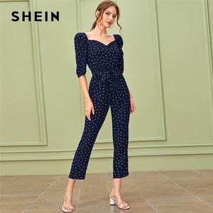 Image 5 - SHEIN Sweetheart คอพัฟแขน Elegant Jumpsuit กับเข็มขัดผู้หญิง 2019 ฤดูใบไม้ร่วงสูงเอวขาตรง Jumpsuits