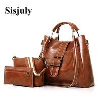 Sisjuly Women Bags Leather Luxury Handbags Famous Brands Female Shoulder Bags Designer Crossbody Bags For Women's Messenger Bag
