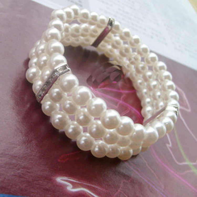Fashion Women's Three-layer Rhinestone Imitation Pearl Bracelet Elegant Flash Drill Multi-layer Elastic Bracelet Bridal Jewelry