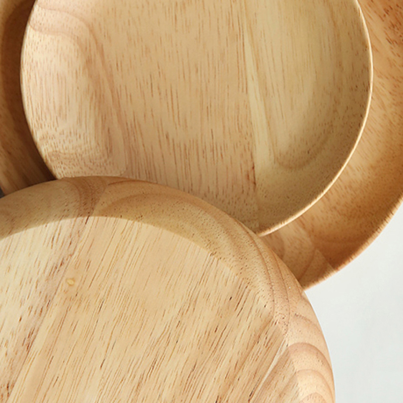 Round Wooden Plates Large Small Wood Serving Tray Tea Plate Wood Dessert Cake Dishes Salad Plate Wood Kitchen Utensils Tableware (8)