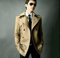 Wine Red Brown Beige New Designer Slim Sexy Trench Coat Men Overcoat Long Sleeve Mens Clothing
