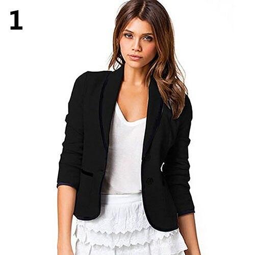 Fashion Women Slim OL Button Long Sleeve Business Blazer Jacket Coat Outwear