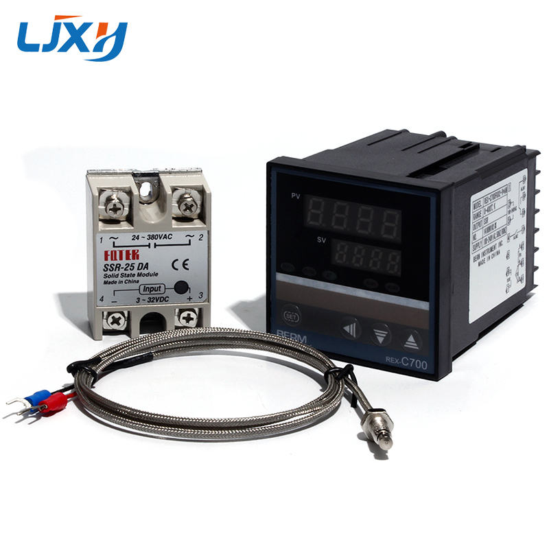 LJXH Temperature Controller REX-C700 C700 Thermocouple Universal Input SSR Output/K Type Thermocouple/Solid State RELAY