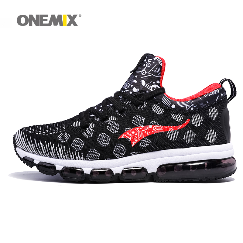 ONEMIX Men s Sport Sneakers Outdoor Running Shoes HIgh Elastic Women Jogging Shoes Black Red Couple