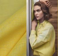 Fresh Bright Color Spring Warm Yellow Fashionable Square High Count Ultra Thin Linen Fabric DIY Shirt