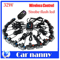 32W Wireless Control Super power Strobe flash led warning light Car Working light DRL Strobe Police Fireman Caution pilot Lamp