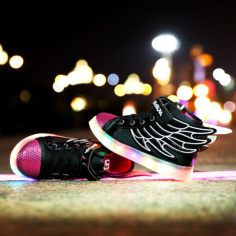 Kids Light Up Shose with Wings Children Usb Charging Led Light Shoes Sneakers Luminous Lighted Boy Girl Shoes Chaussure Enfant children roller sneaker with one wheel led lighted flashing roller skates kids boy girl shoes zapatillas con ruedas