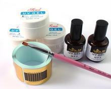 Hot Pro Professional Acrylic Liquid Primer Top Coat Gel Nail Art Brush Glue Glitter Powder Buffer Tool Set Kit