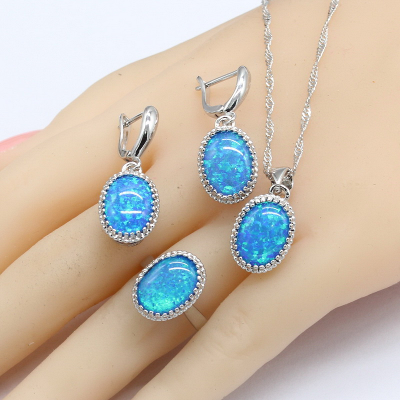 Round Fire Blue Opal Stones Silver Color Jewelry Sets For Women Necklace Pendant Drop Earrings Rings Free Gift Box 6pcs of stylish color glazed round rings for women