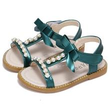 COZULMA 2019 Children Girls Summer Shoes Sandals Flip Flops Kids Beach Princess Pearl Beading With Bow