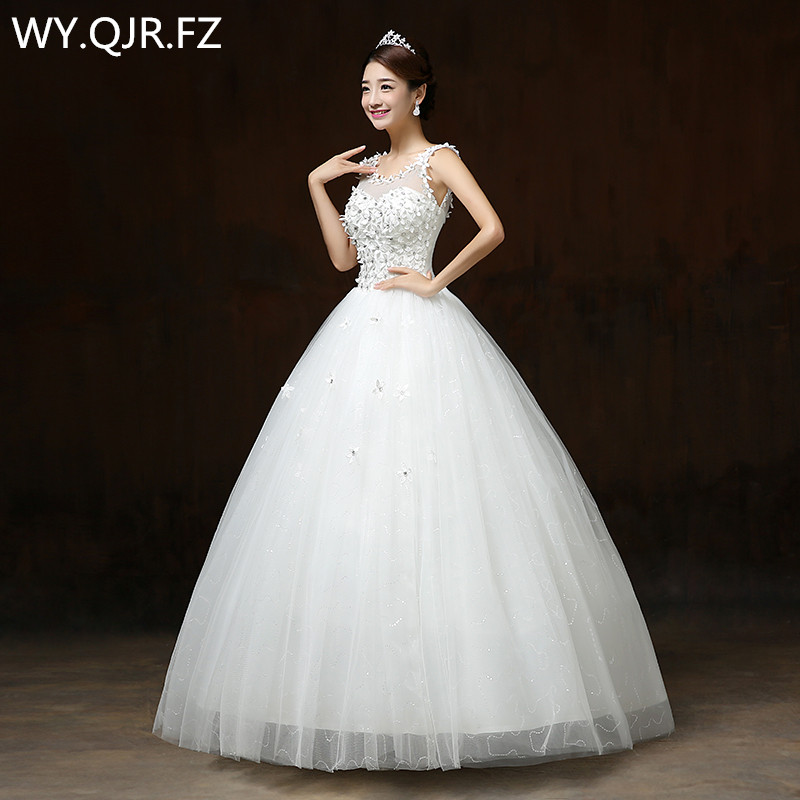 LYG H58 Ball Gown flower paillette wedding dress 2019 spring new lace up white and red