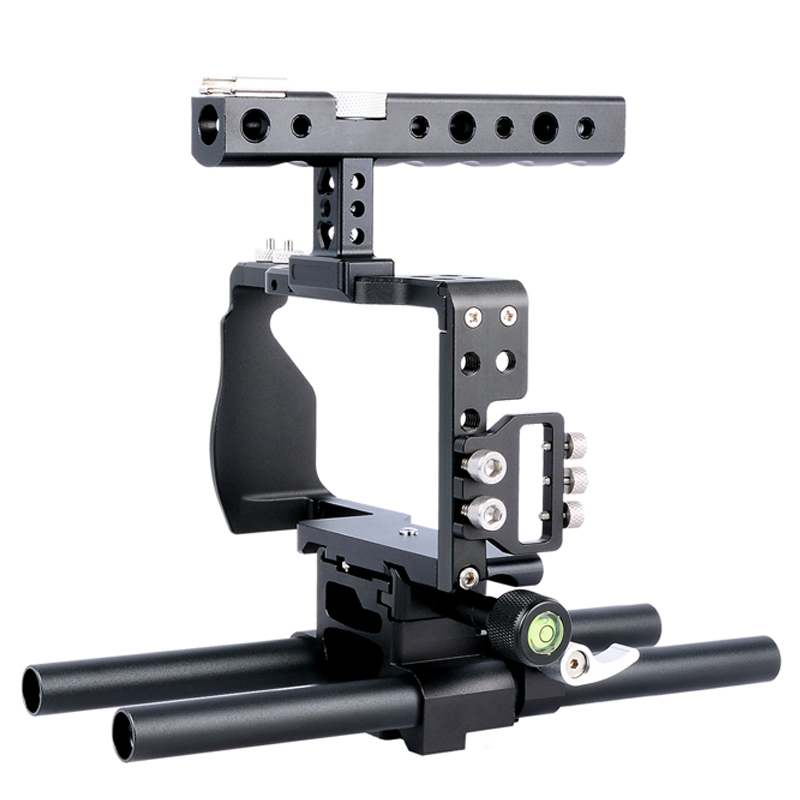 Professional Aluminium Alloy DSLR Camera Video Stabilizer Cage with Top Handle Grip Rail for Sony A6000 A6300 A6500 SLR Camera