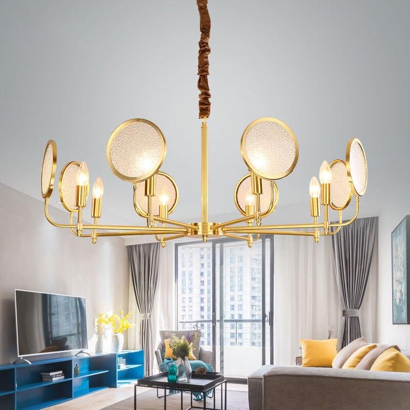 Nordic real brass Frosted glass Pendant light Modern simple Living room restaurant 6 8 heads E14 LED bulbs luxury droplight in Pendant Lights from Lights Lighting