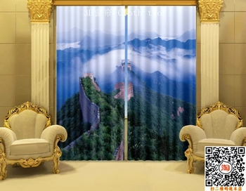 Beautiful Chinese Great Wall Digital Print 3D Blackout Curtains For Living room Bedding room Drapes Cotinas para sala
