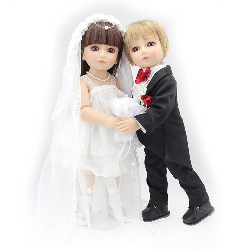 18''handmade реалистичные детские Куклы для девочек и мальчиков Игрушка SD BJD мяч Соединенных свадебные куклы Жених и невеста Детские Реалистичного Куклы