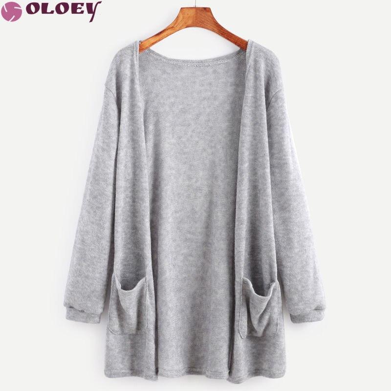 2018 Spring Autumn Sweater Cardigan Women Crochet Knitted Long Cardigan with Pockets Gray Black Women Long Sleeve Sweater Femme