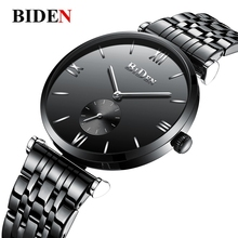 цены на BIDEN Top Brand Men's Watch Minimalist Luxury Black Stainless Steel Clock Man Roman Numeral Brief Quartz Wristwatch Reloj Hombre  в интернет-магазинах