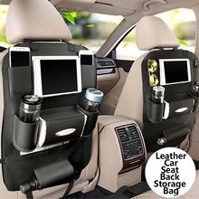 Pu Leather Car Seat Back Organizer and IPad Mini Holder Universal Use As Backseat for Kids Storage Bottles Tissue