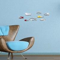 8 Adet/takım Moda Ev Dekor Balık Tasarım Ayna Duvar Çıkartmaları Altın Gümüş Odası Dekoratif Aynalar Sticker DIY Duvar Çıkartmaları Sanat