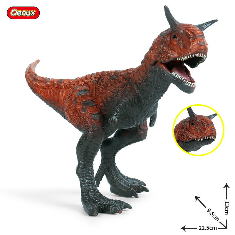Oenux New Jurassic Dinosaur Carnivorous Carnotaurus Mouth Can Open Action Figure T-Rex PVC Collection Model Toys For Kids Gift