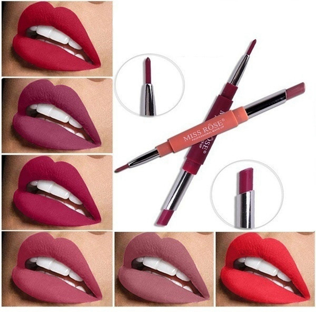 Professional Makeup Double-end Liplipstick Pencil Waterproof Long Lasting Tint Sexy Red Lip Velvet Matte Liner Pen Lipstick Set 1