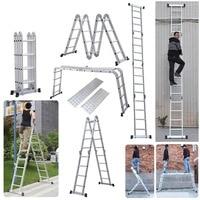 Multipurpose 15.5FT Folding Ladder Step Platform Rustproof Aluminum Alloy Fold Scaffold Step Ladder for Commercial Household Use