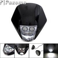 Black Universal Motorcycle Supermoto LED Headlight MX Dirt Bike Street Bikes Headlamp for KTM Honda Yamaha Suzuki Kawasaki