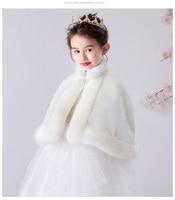 Children newborn girl fur cape infant formal princess cape baby plush cloak kids dress cape bridesmaids Fur coat Boleros 3m 8t