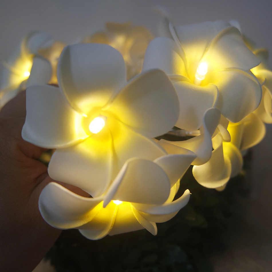 Handmade frangipani LED String Lights, AA battery PE floral holiday lighting,Event Party garland decoration,flower arrangement