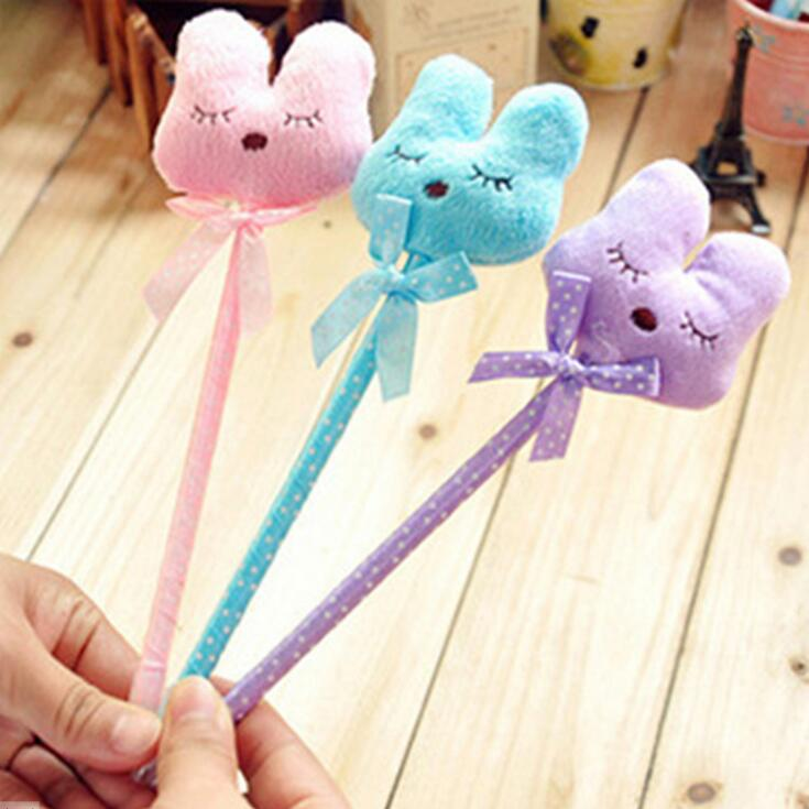 36pcslot  Cute rabbit design 3D soft plush ballpoint pen 0.5mm ball pen Office and Study  Stationery Gift for Kids wholesale