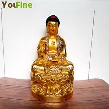 Bronze Sakyamuni Buddha statue paste gold high-grade worship Buddhist supplies desktop ornaments