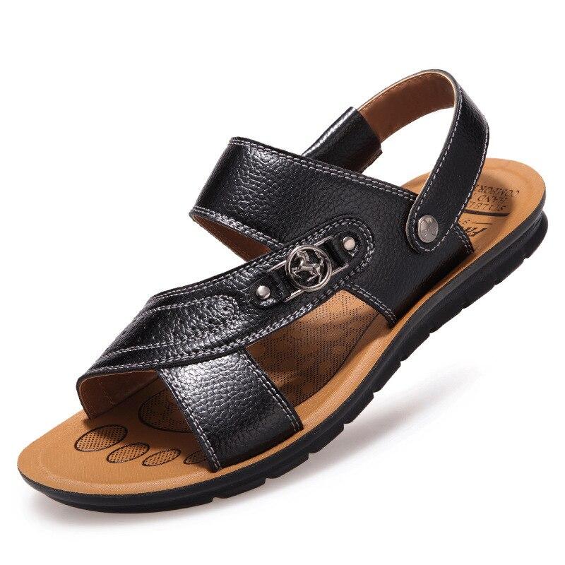 9e38ded7346adc Plage 44 Chaussures Plein D'été Noir Top Qualité Mâle Pantoufles Sandale En  La Cuir Sandales ...