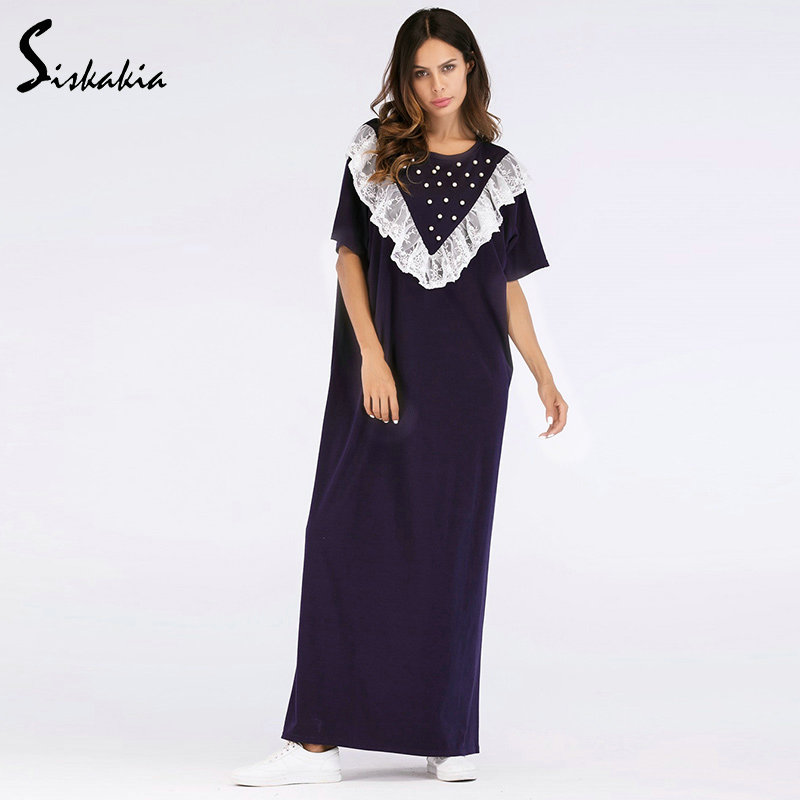 4f065ebe22cb Siskakia Summer dresses lace ruffles beading patchwork design maxi dress  Urban casual women loose big sizes