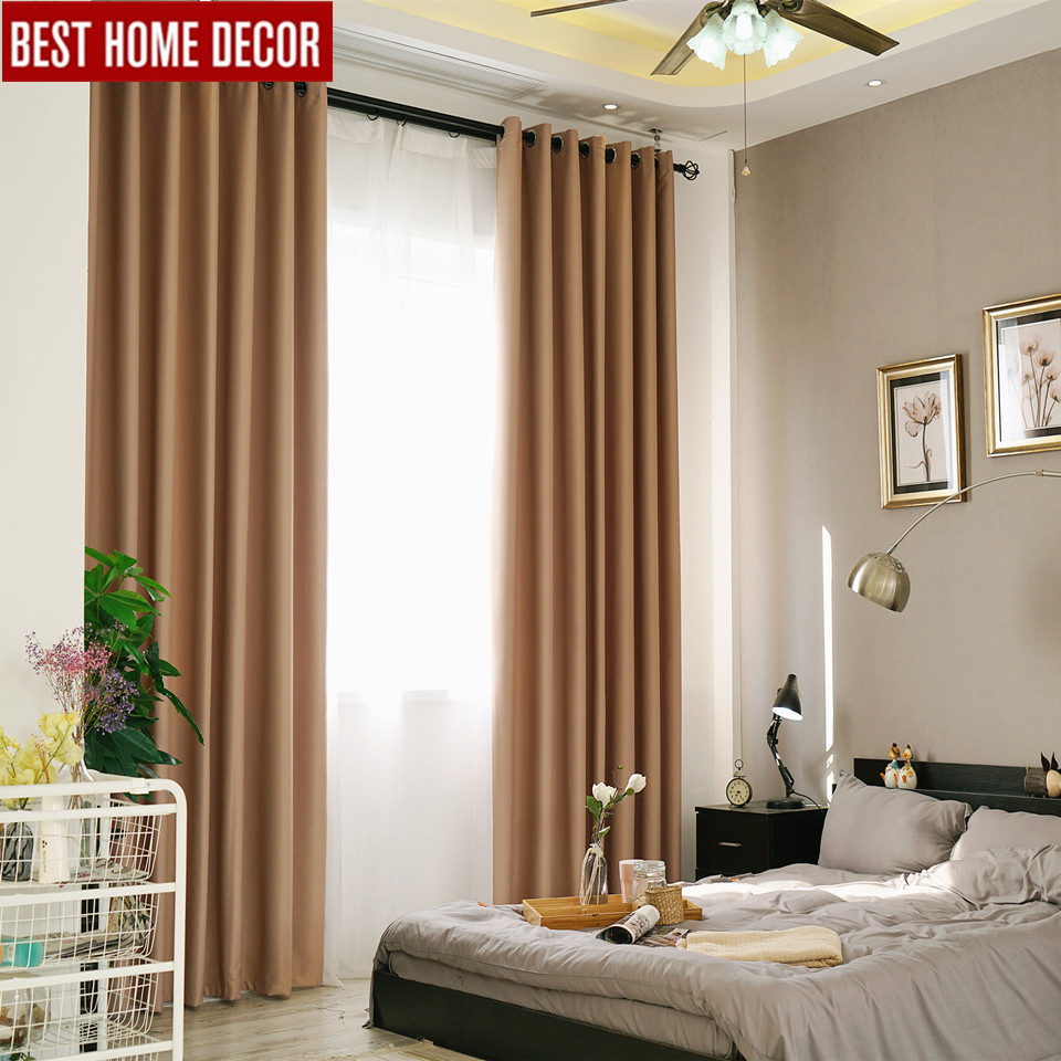 Solid Modern Blackout Curtains For Living Room Bedroom Finished Window Curtains For Window Treament Blinds Drapes