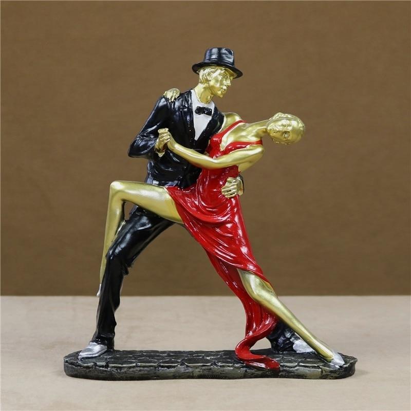 Passionate Tango Dancing Lovers Figurine Handmade Resin Pas De Deux Dancers Statue Souvenir Present Craft Ornament Accessories