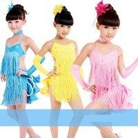 2013 neue Kinder Latin dance kostüme mädchen gb kleidung mode quaste bühnenkostüm